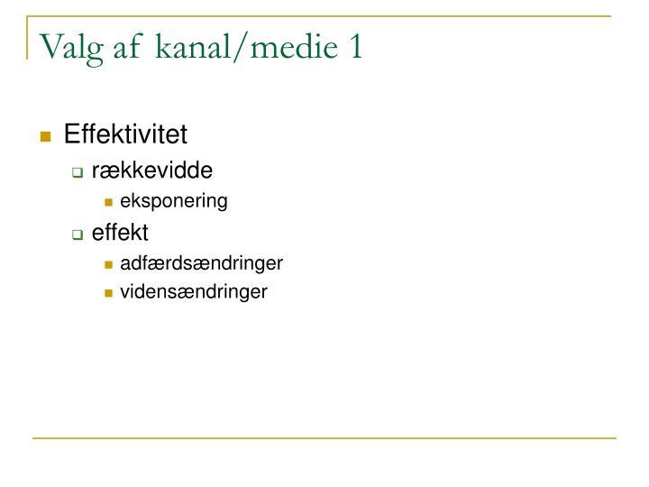 Valg af kanal/medie 1