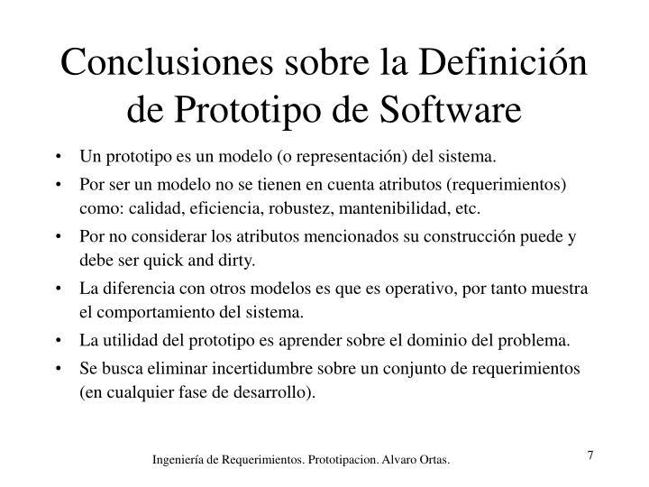 Conclusiones sobre la Definición de Prototipo de Software
