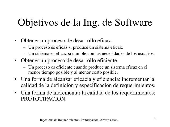 Objetivos de la Ing. de Software