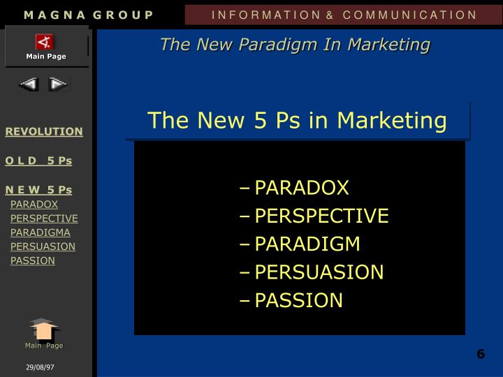 The New 5 Ps in Marketing