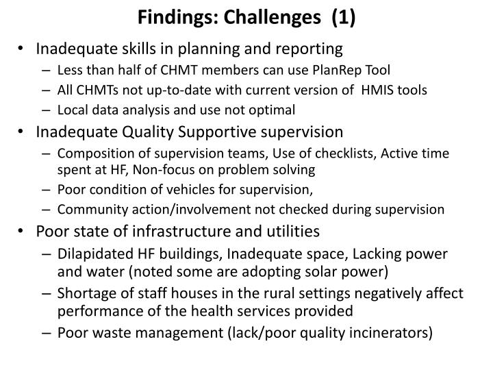 Findings: Challenges  (1)