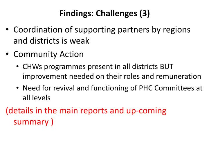 Findings: Challenges (3)