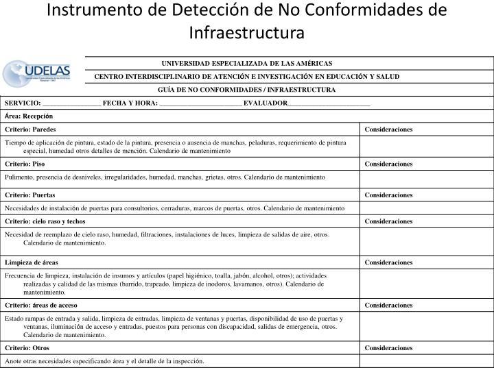 Instrumento de Detección de No Conformidades de Infraestructura
