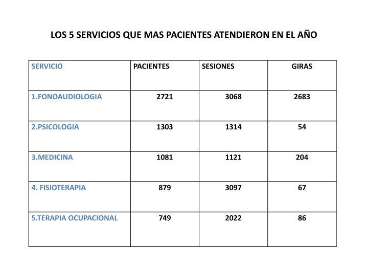 LOS 5 SERVICIOS QUE MAS PACIENTES ATENDIERON EN EL AÑO