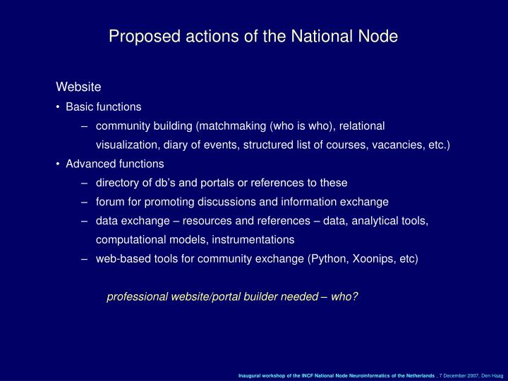 Proposed actions of the National Node