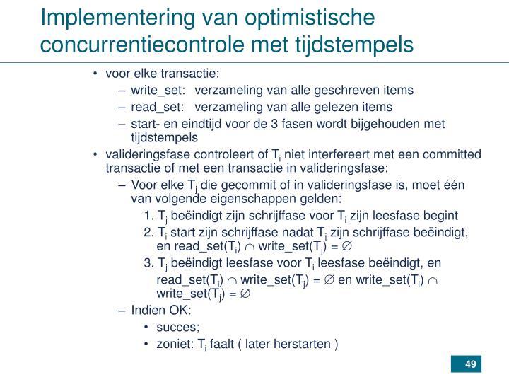 Implementering van optimistische concurrentiecontrole met tijdstempels