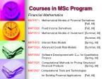 courses in msc program