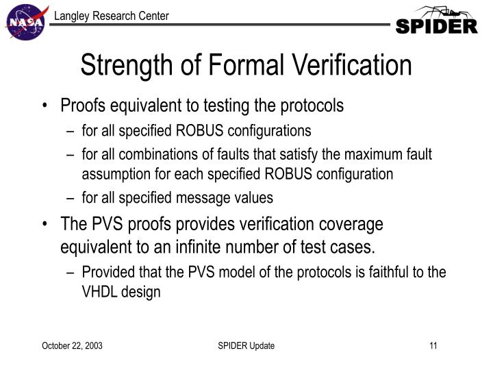 Strength of Formal Verification