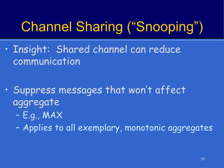 """Channel Sharing (""""Snooping"""")"""