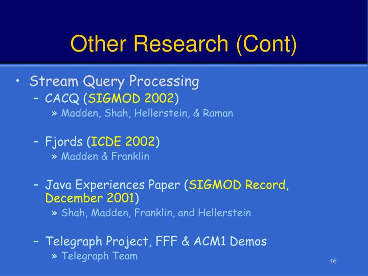 Other Research (Cont)
