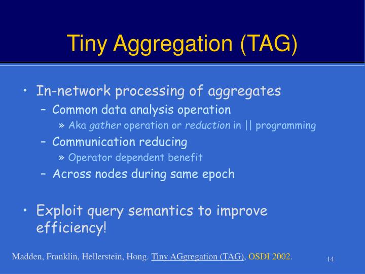 Tiny Aggregation (TAG)