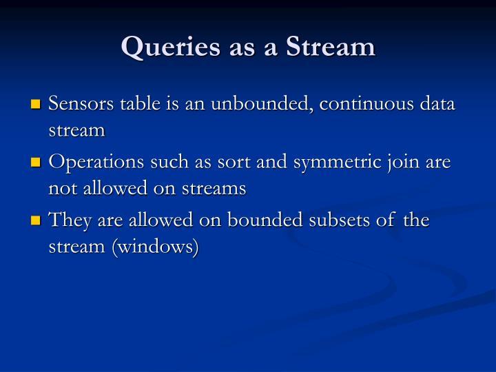 Queries as a Stream