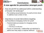 conclusions a new agenda for prevention amongst youth