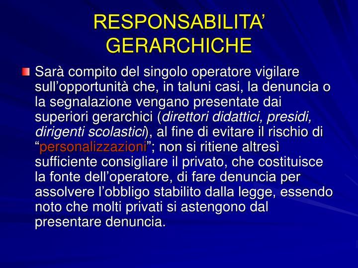 RESPONSABILITA' GERARCHICHE