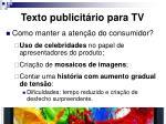 texto publicit rio para tv
