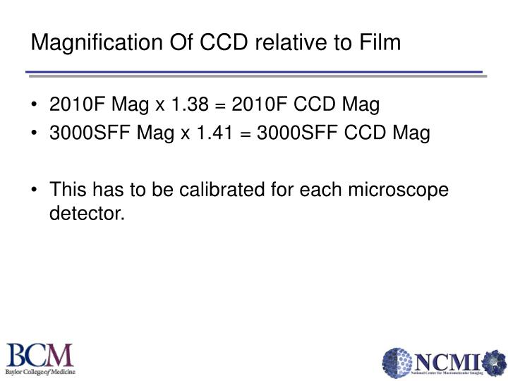 Magnification Of CCD relative to Film