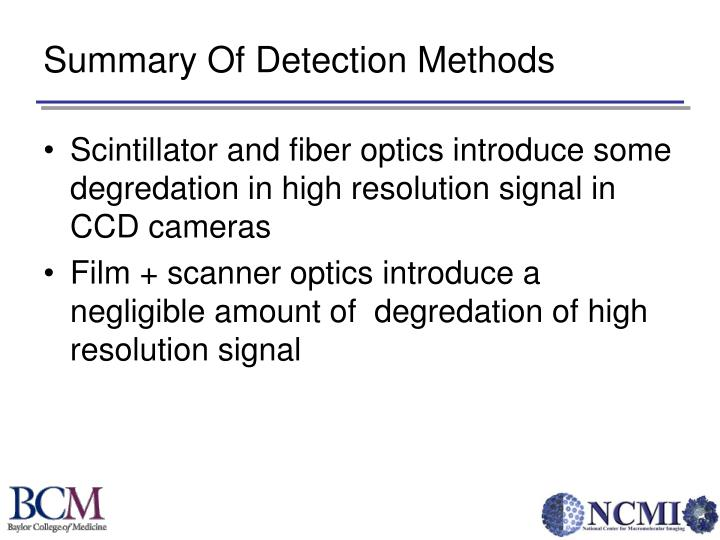 Summary Of Detection Methods