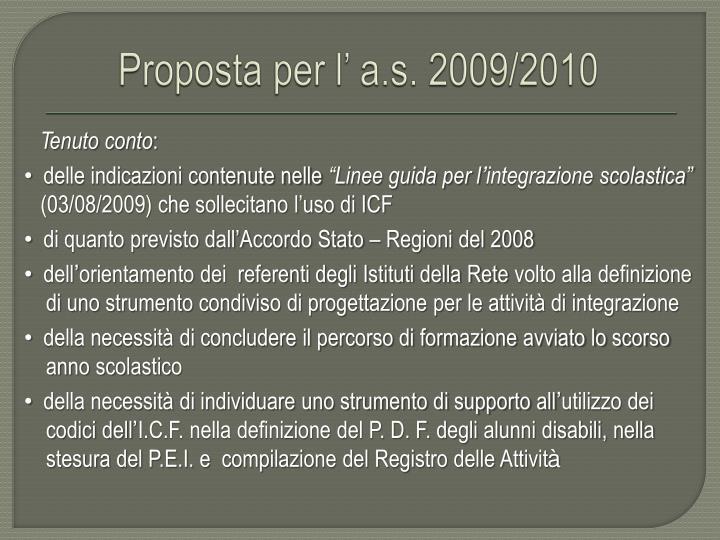 Proposta per l' a.s. 2009/2010