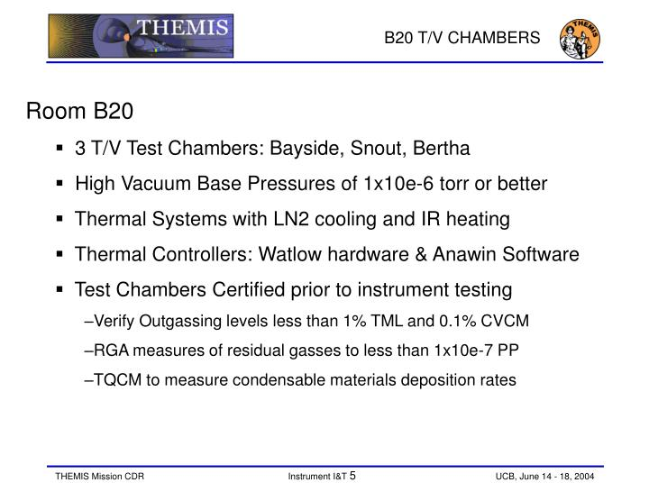 B20 T/V CHAMBERS