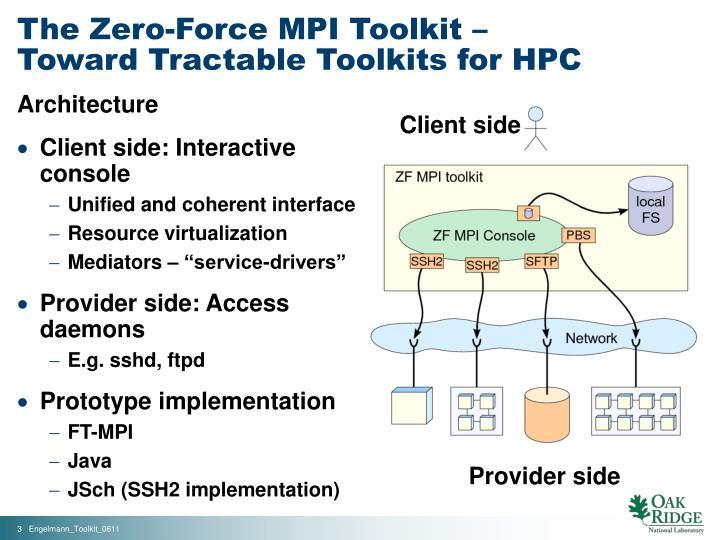The zero force mpi toolkit toward tractable toolkits for hpc1