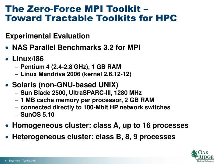 The Zero-Force MPI Toolkit –