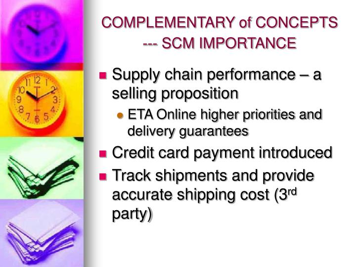 COMPLEMENTARY of CONCEPTS --- SCM IMPORTANCE