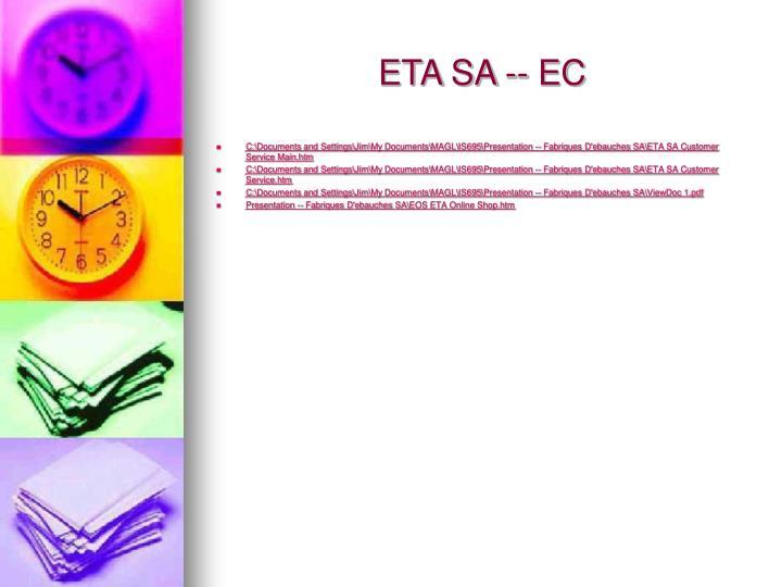 ETA SA -- EC