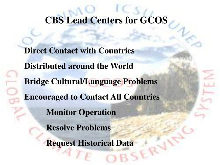 CBS Lead Centers for GCOS