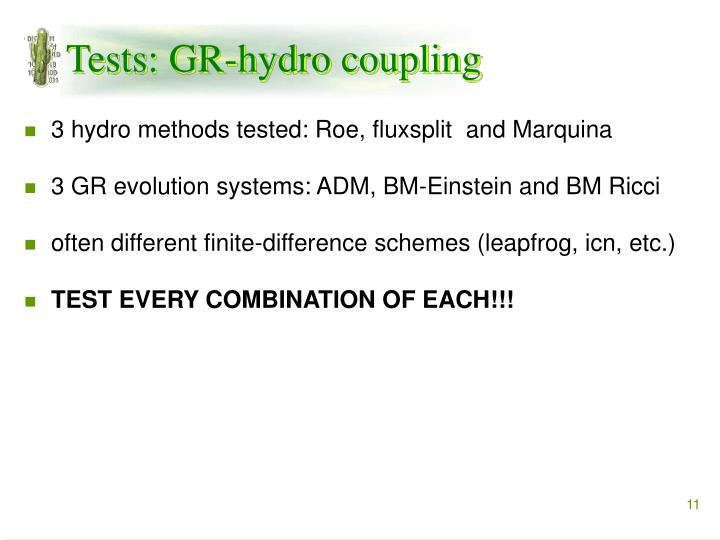 Tests: GR-hydro coupling