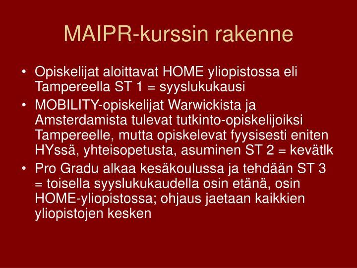 MAIPR-kurssin rakenne