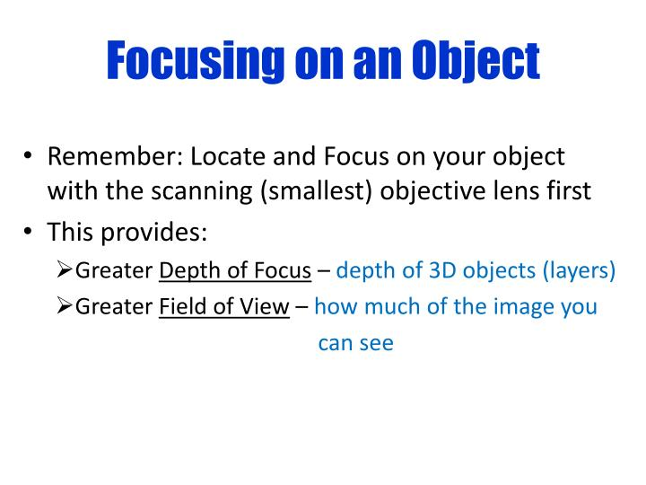 Focusing on an Object