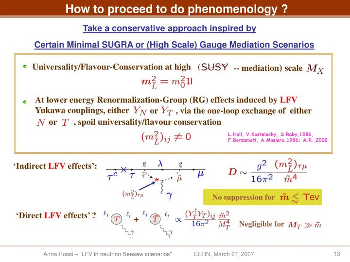 How to proceed to do phenomenology ?