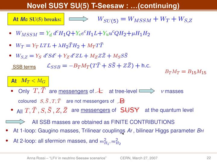 Novel SUSY SU(5) T-Seesaw : …(continuing)