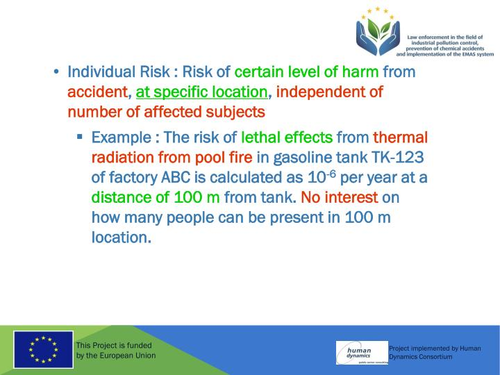 Individual Risk : Risk of