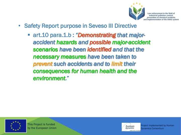 Safety Report purpose in Seveso III Directive