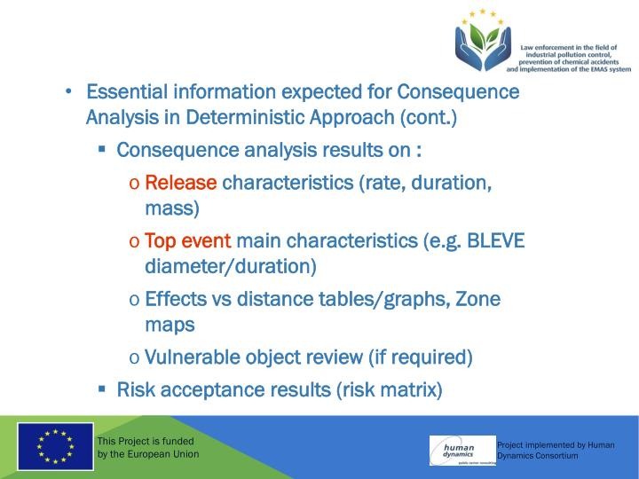 Essential information expected for Consequence Analysis in Deterministic Approach (cont.)