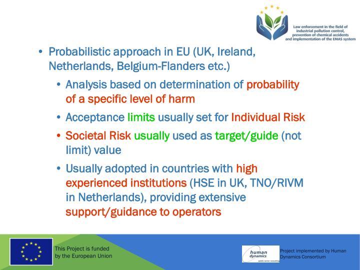 Probabilistic approach in EU (UK, Ireland, Netherlands, Belgium-Flanders etc.)