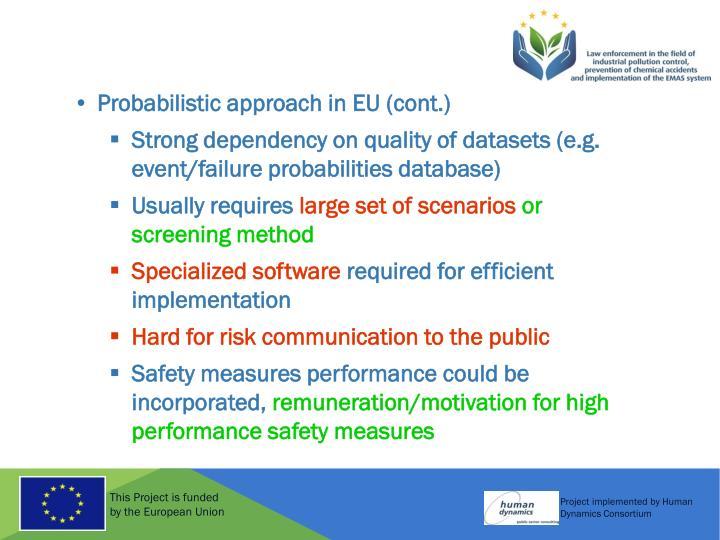Probabilistic approach in EU