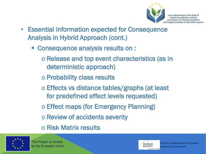 Essential information expected for Consequence Analysis in Hybrid