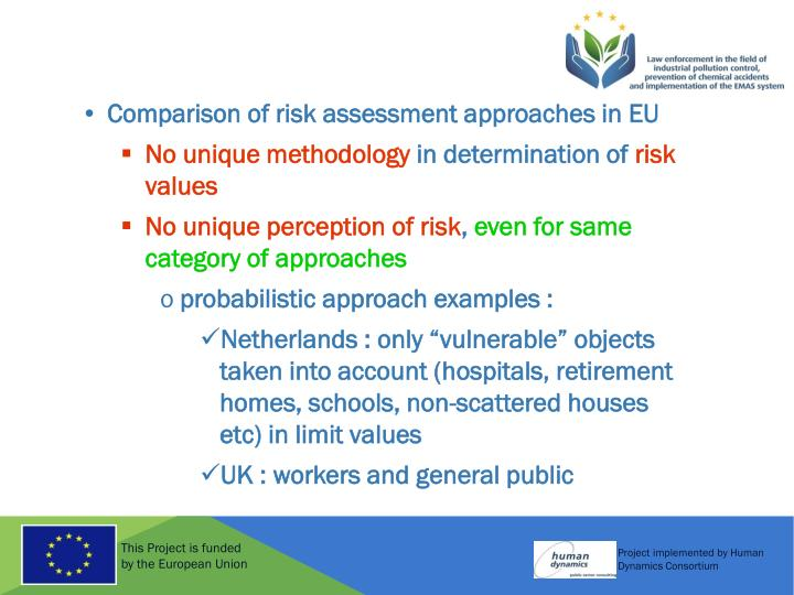 Comparison of risk assessment approaches in EU