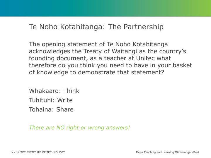 Te noho kotahitanga the partnership