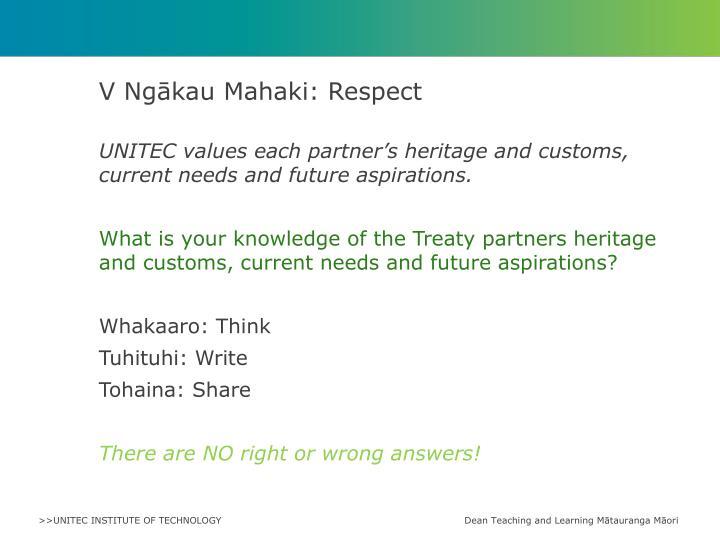 V Ngākau Mahaki: Respect