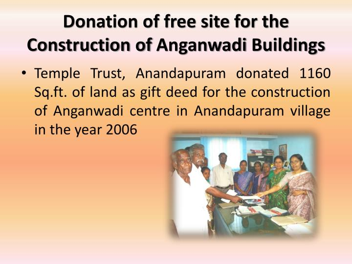 Donation of free site for the Construction of