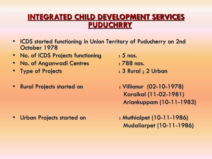 INTEGRATED CHILD DEVELOPMENT SERVICES PUDUCHRRY