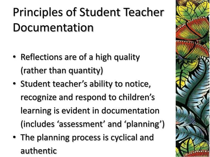 Principles of Student Teacher Documentation