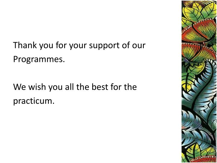 Thank you for your support of our