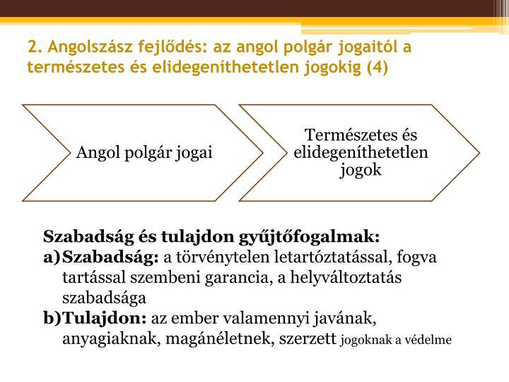 2. Angolszász fejlődés: az angol polgár jogaitól a természetes és elidegeníthetetlen jogokig