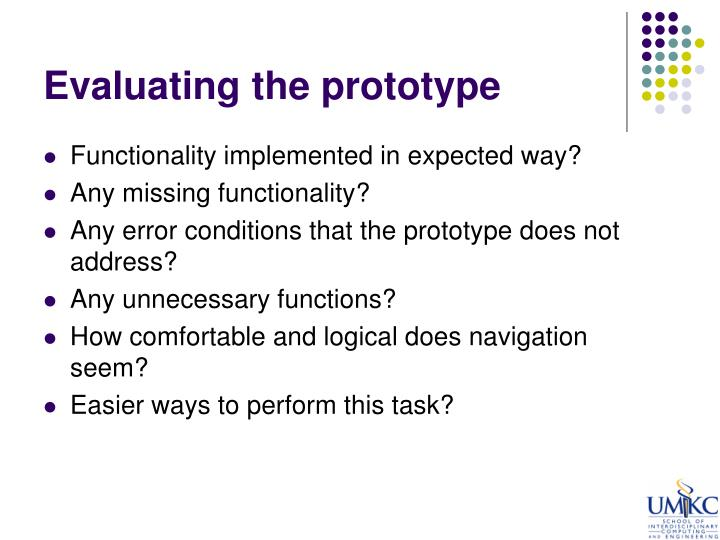 Evaluating the prototype