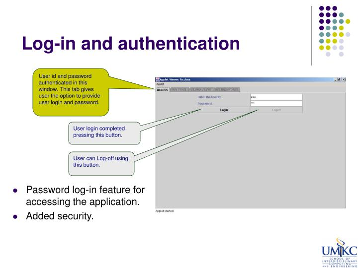 Log-in and authentication
