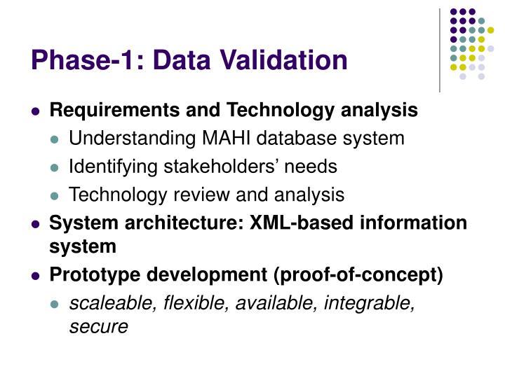 Phase-1: Data Validation